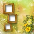 Grunge frame for interior with bunch of flowers - Stok fotoraf