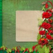 Stock Photo: Card for congratulation or invitation with red roses