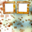 Old grunge frames on the blur boke background - Stock Photo