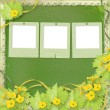 Stock Photo: Grunge paper slides with flowers pumpkins and ribbons for design