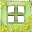 Stock Photo: Grunge paper frames with flowers pumpkins and ribbons