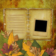 Photo: Old grunge frame on the abstract background with autumn leaves