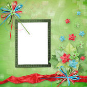 Card for invitation or congratulation with bunch of orchids — Stock Photo