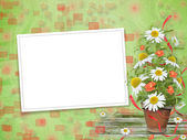 Grunge frames with beautiful bunch of daisy and poppy for design — Stock Photo