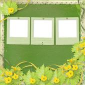 Grunge de papel se desliza con calabazas de flores y cintas para el diseño — Foto de Stock