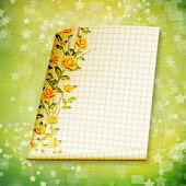 Grunge papper design i scrapbooking stil med målade rosor — Stockfoto