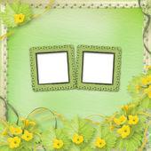 Nieczysty papier ramki z kwiaty dyni i wstążki — Zdjęcie stockowe