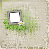 Grunge frame with beautiful necklace, beads and flowers — Stock Photo