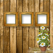 Grunge wooden wall with beautiful bunch of daisy for design — Stock Photo