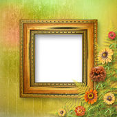 Grunge frame for interior with bunch of flowers — Stockfoto
