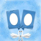 Greeting Card to wedding with frames on the blue background — Stock Photo
