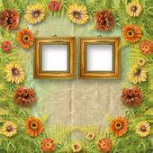 гранж-рамка для интерьера с букетом цветов — Стоковое фото