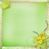 Carta grunge con zucche di fiori e nastri per design — Foto Stock