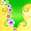 Abstract background with wild flowers - 图库矢量图片