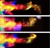 Svart bakgrund med ljusa mönster — Stockvektor