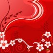 Bright red background with flowers - Stock vektor