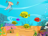 Vector illustration of the seabed — Vector de stock