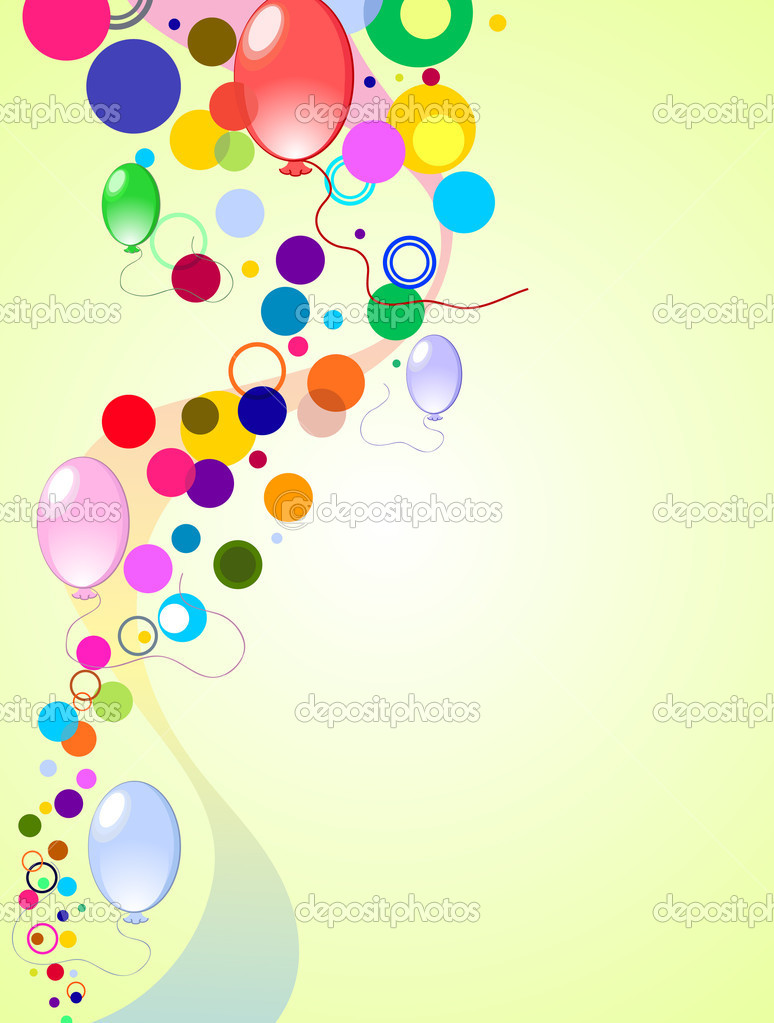 Colored background with balloons stars and confetti, vector illustration — Stock Vector #3063165
