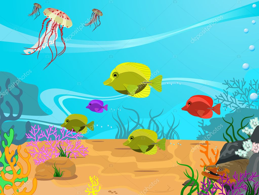 Vector illustration of the seabed and its inhabitants  Stock Vector #3063247