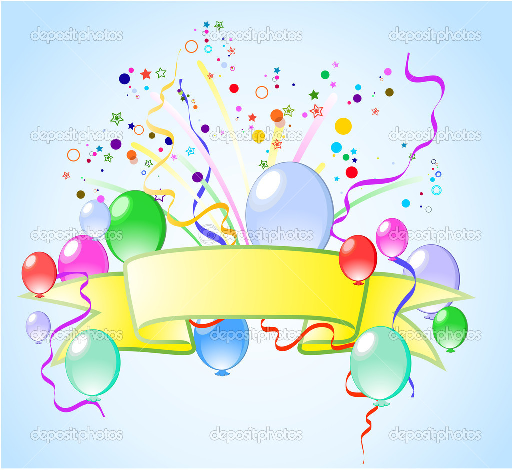 Blue color  background with balloons, stars and confetti, vector — Stock Vector #3119643