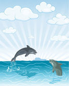 Jumping dolphin — Stock Vector