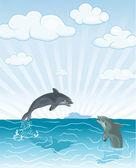 跳跃的海豚 — 图库矢量图片
