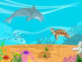 Ilustración vectorial de los fondos marinos y — Vector de stock