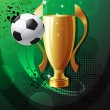Football poster with champion cup — Vector de stock