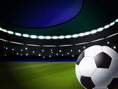 Soccer ball on the stadium with lighting, eps10 format — 图库矢量图片