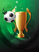 Football poster with champion cup — Stockvector