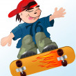 A boy flying on skateboard - Stockvektor