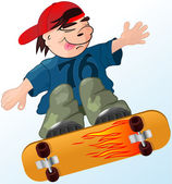 A boy flying on skateboard — Vector de stock