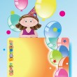 Vector de stock : Girl with balloons