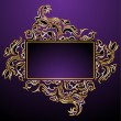Golden floral frame - 图库矢量图片