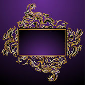 Golden floral frame — Vecteur