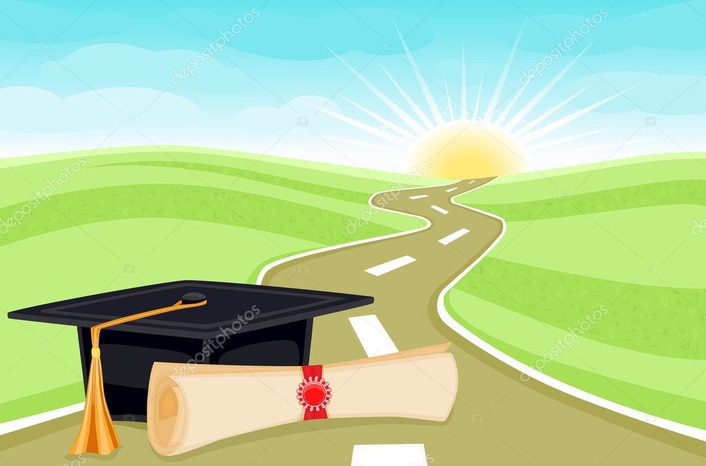 Celebrating graduation day with bright future ahead. Vector illustration saved as EPS AI8, all elements layered and grouped.   Stock Vector #2687546