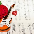 Love song with red rose — Stock Photo