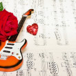 Love song with red rose — Stok fotoğraf