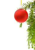 Christmas border with red bauble — Stock Photo