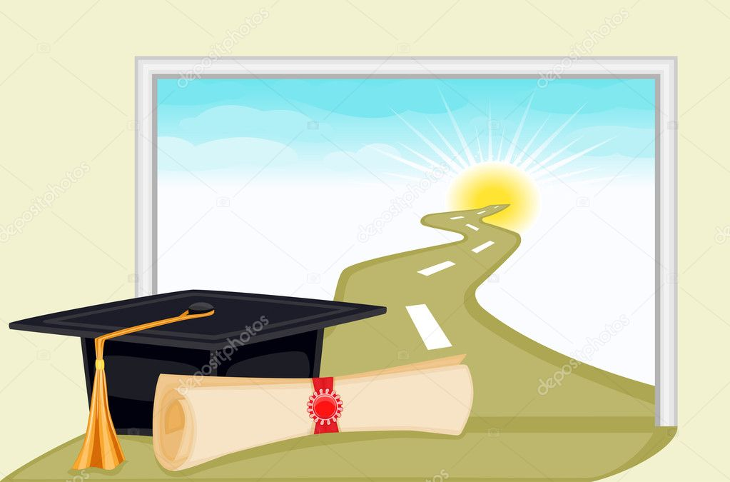 Celebrating graduation day and the start to a bright new future. Vector file saved as EPS AI8, all elements layered and grouped.  — Imagens vectoriais em stock #2900171