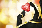 Love card with diamond ring — Stock Photo