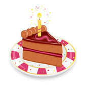 Festive birthday cake with candle — Stock Vector