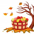 Royalty-Free Stock Vector Image: Rich apple harvest in autumn