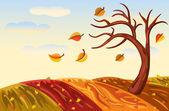 Herfst landschap in rijke gouden — Stockvector