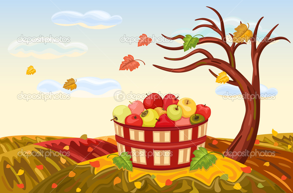 Beautiful autumn landscape with rich apple harvest under a bare, lone tree. The wind is blowing and the leaves are falling. Vector illustration saved as EPS AI8 — Stock Vector #3706596