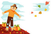 Autumn - Pumpkin and Scarecrow — Stock Vector