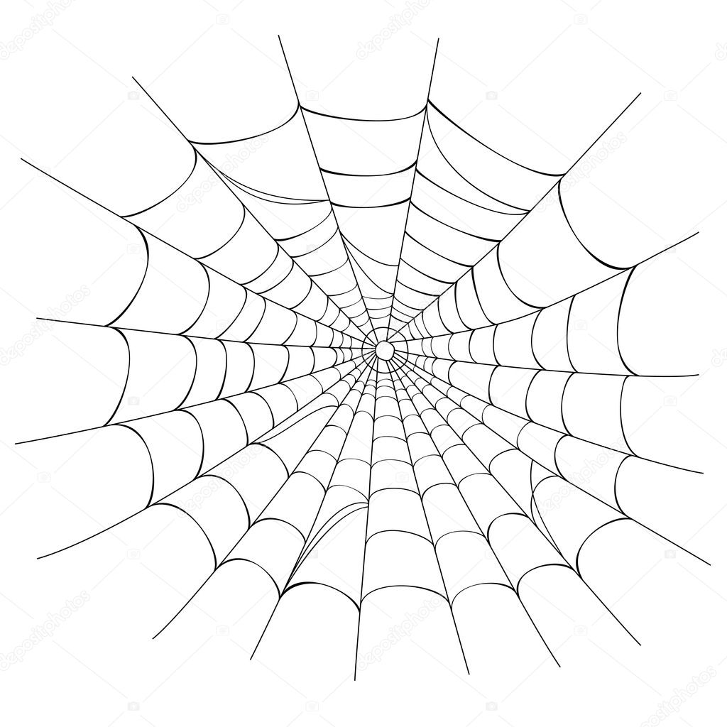 Creepy spider web over white background. Vector illustration saved as EPS AI 8, no effects, easy printing.  — Stock Vector #3754152