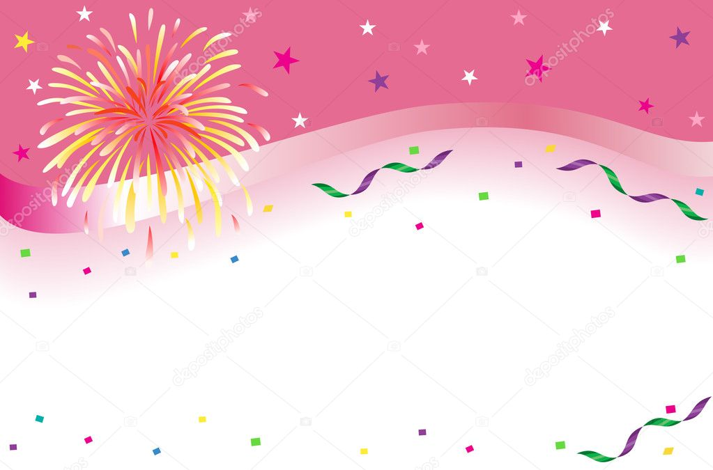 Celebrations and party banner with sparkling fireworks and colorful confetti. Isolated over white background with room for your text. Vector illustration saved   Stock Vector #3754156
