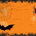 noche de Halloween con el bate y la araña — Vector de stock