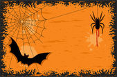 Halloween night with bat and spider — Stock Vector